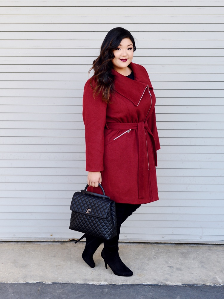 Curvy Girl Chic Ellos Burgundy Coat