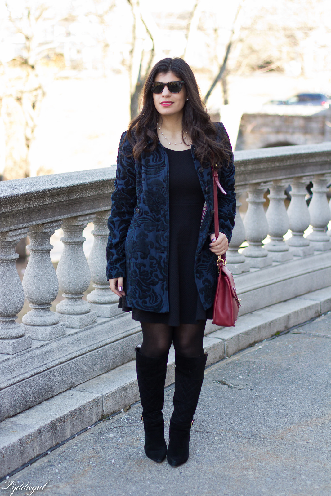 brocade coat, little black dress, red coach bag.jpg