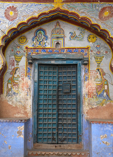 In Bundi, this home with the blue door features Ganesh, the Hindu elephant boy god. According to a local all homes in the region add an image of Ganesh on their walls along with their names and the date of their marriage as a way to bless their union