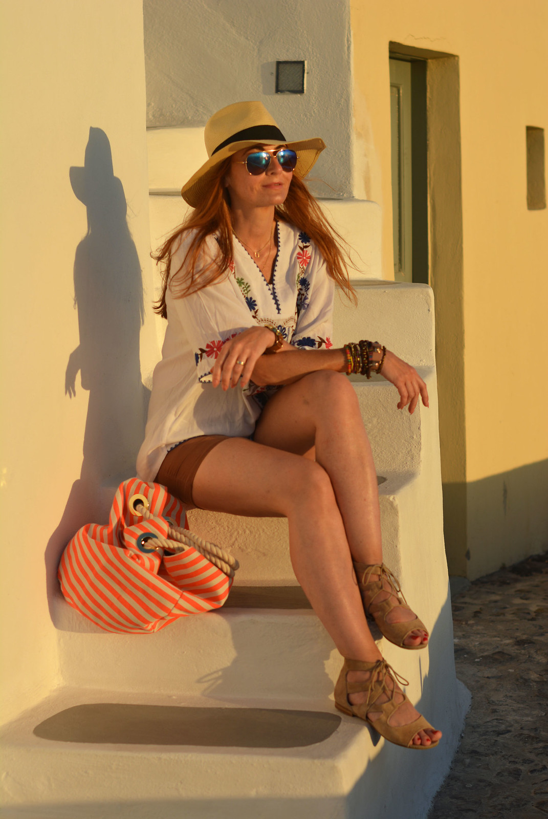 Summer holiday outfit | Embroidered top, shorts, suede cuff sandals