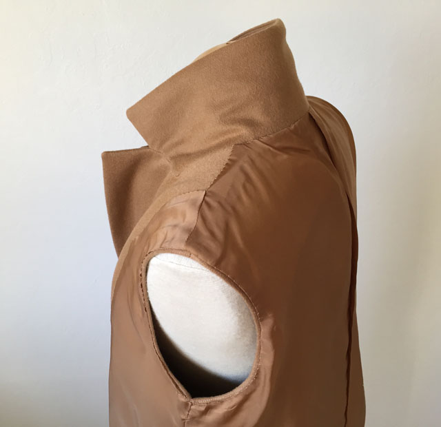 camel coat inside back neck lining