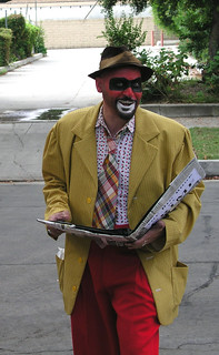 Crimebo the Crime Clown reads from his Big Book of Crime | by richardschave