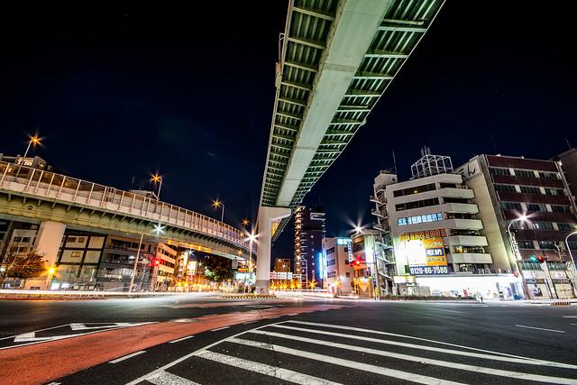 東片端ジャンクションの夜景を撮影した写真