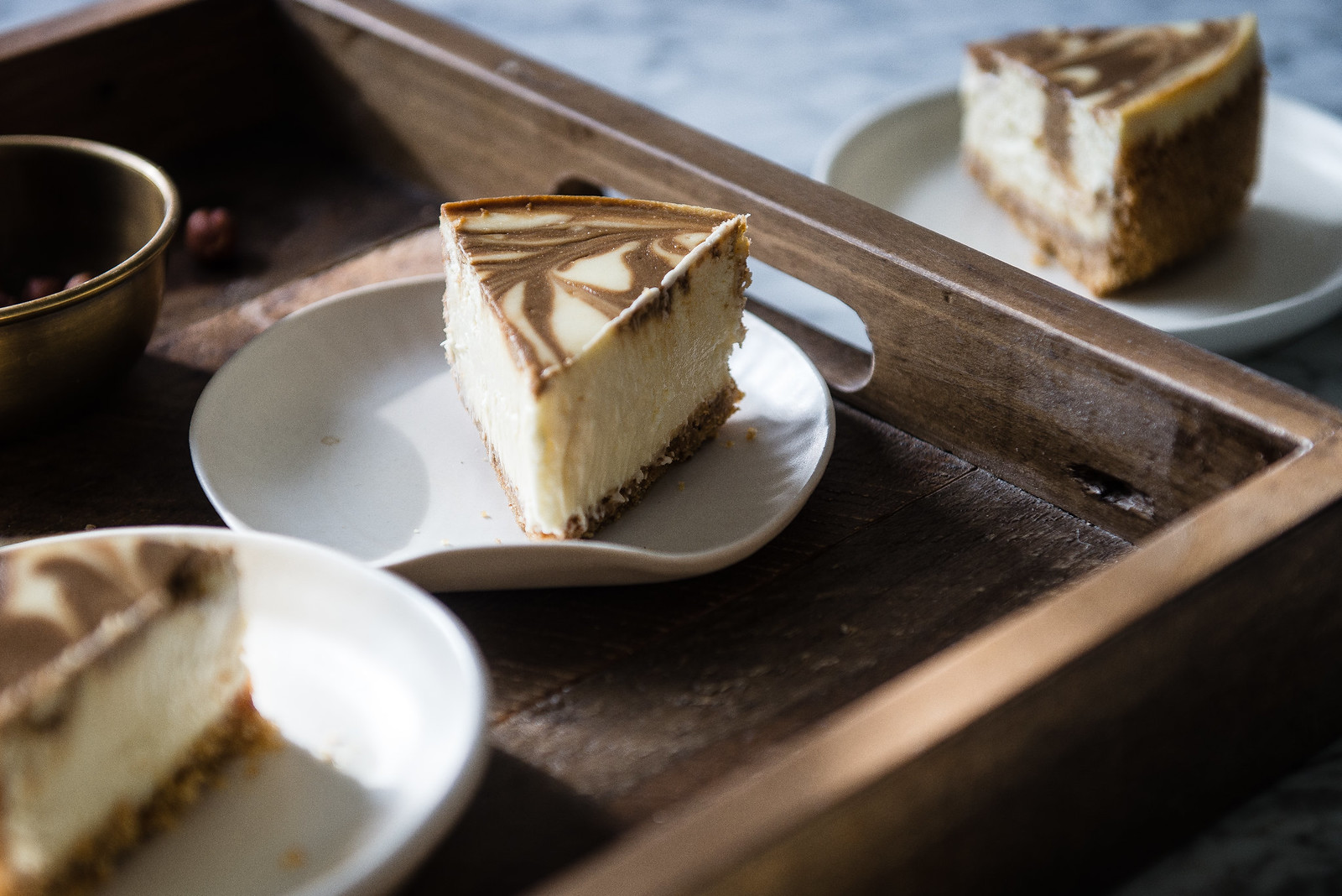 hazelnut coffee cheesecake | two red bowls
