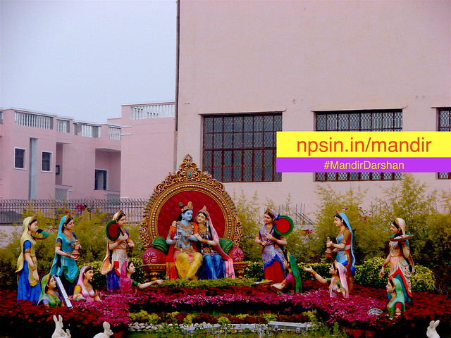 When devotees move towards exit from main prayer hall, get a beautiful view of Shri Krishna Raas Leela.