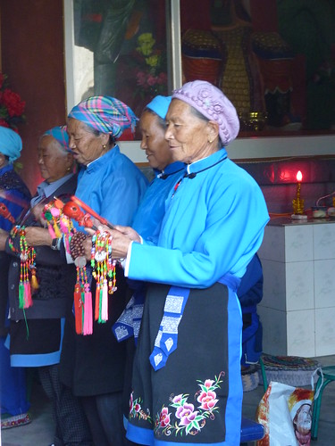Temple ceremony by elderly women in XiaBoPu Cun Village - Bike ride along Lake Erhai (洱海), Yunnan, China