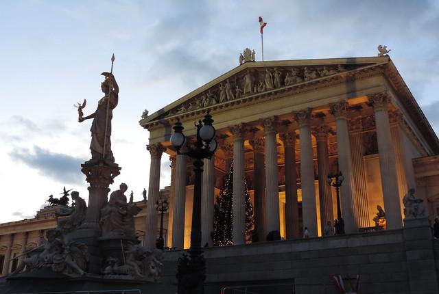Merry Christmas: Parliament, Vienna, Austria
