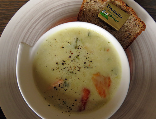 A Seafood Chowder & Soda Bread in a small town on the Coastal Causeway Route of Ireland
