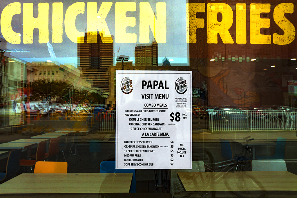 PAPAL VISIT MENU at Burger King--Center City