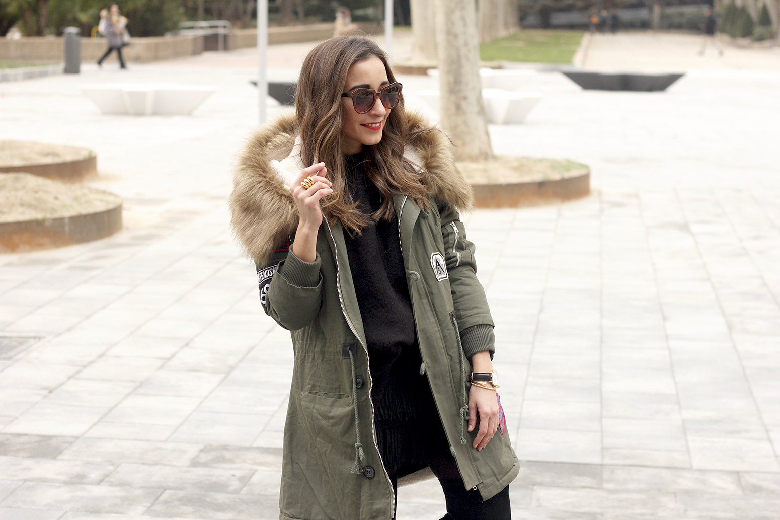 Green Parka black skirt over the knee boots winter style outfit11
