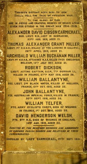 Kirkurd War Memorial Names
