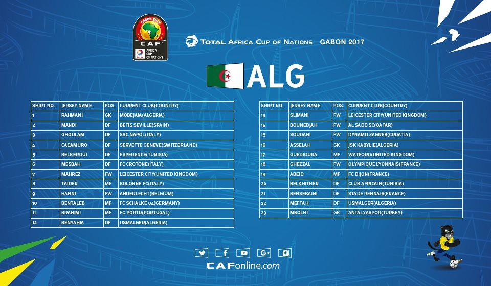 AFCON Algeria Squad