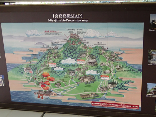 Miyajima Island birds eye view map
