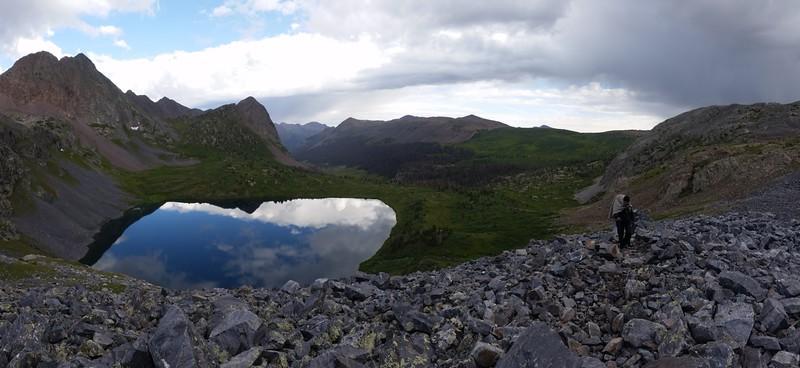 Panorama shot of Rock Lake below us