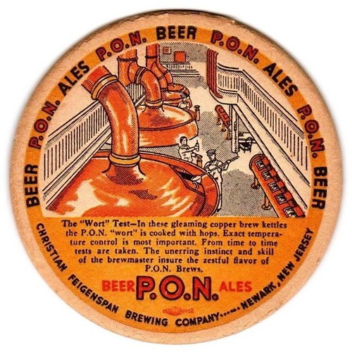 PON-BeerAles-Coasters-Over-4-Inches-Christian-Feigenspan-Brewing-Co
