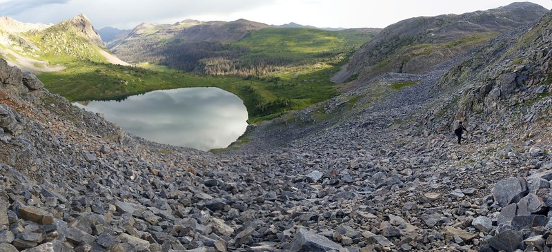 Rock Lake below us as we climb higher on the old Half Moon Trail