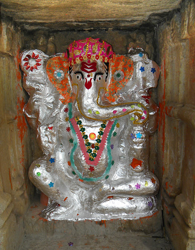 In Chittor, India, a temple features this silvery version of Ganesh, the Hindu elephant boy god