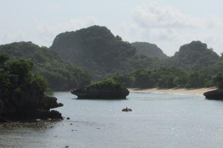 view pantai teluk asmoro di sisi kanan