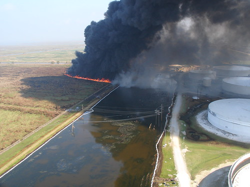 Oil being burned off of a Louisiana marsh after Hurricanes Katrina and Rita