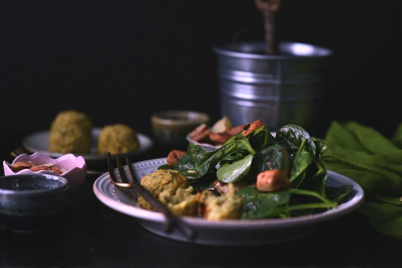 Spinach Salad + Baked Falafel