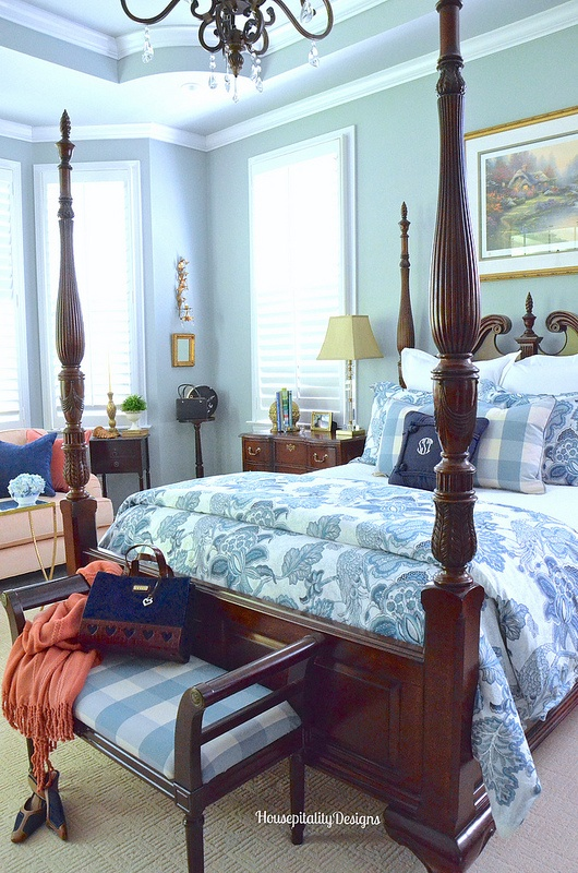 Blue and White Master Bedroom-Housepitality Designs