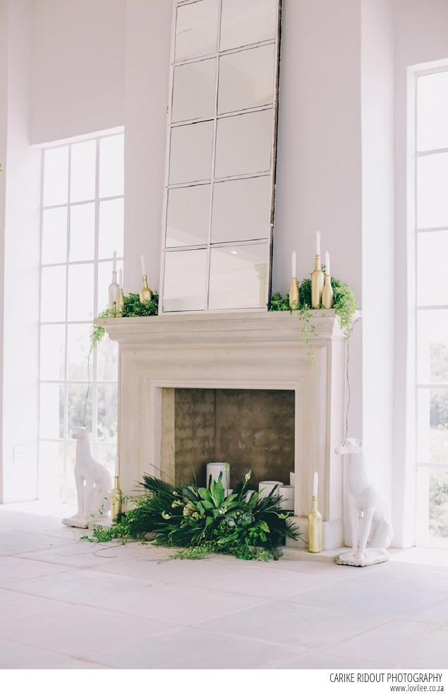 Botanical wedding fireplace decoration by Carike Ridout