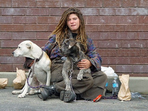 Homeless woman with dogs | by Franco Folini