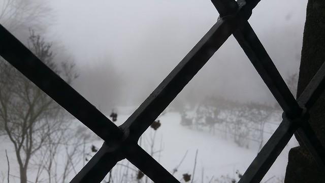 20160123 05 Schwanberg Bibelkurs Schnee Park FensterGitter