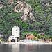 Greece, Macedonia, Aegean Sea,  monastery view from a boat cruising around Mount Athos peninsula