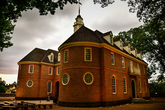 Capitol Building in Colonial Williamsburg VA at night before the storm