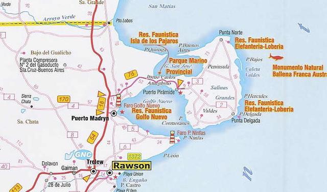 Mapa Región De Puerto Madryn Chubut Patagonia Argentina Flickr - Argentina map puerto madryn