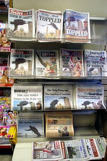 Toppling of Saddam - newspapers