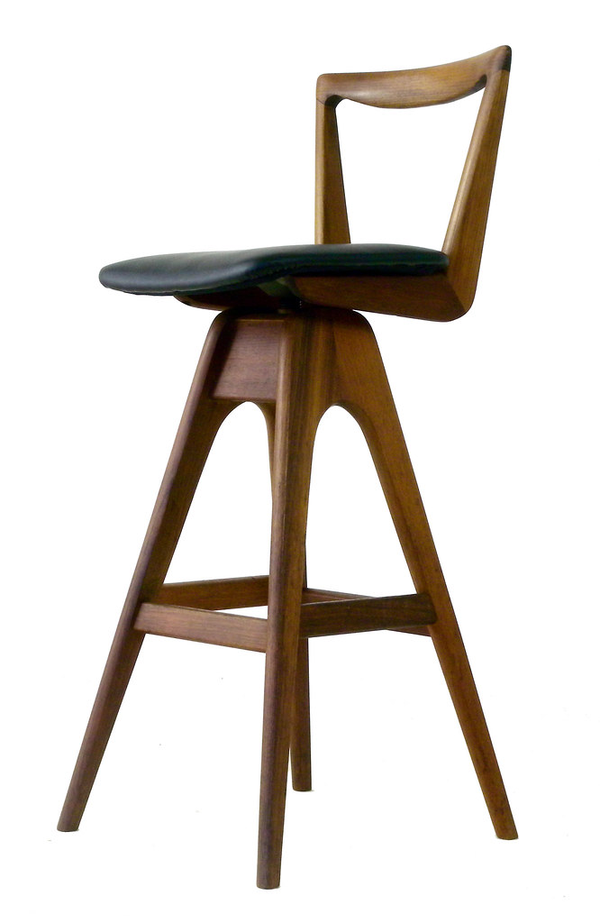 T H Brown Teak Bar Stool A Teak Bar Stool With Swivel