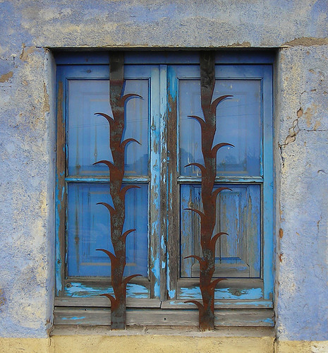 Blue Window With Decorative Security Bars Ii Blue Window Flickr Photo Sharing