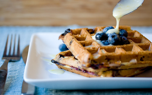 Fresh Blueberry Waffles with Lemon Icing | by teenytinyturkey