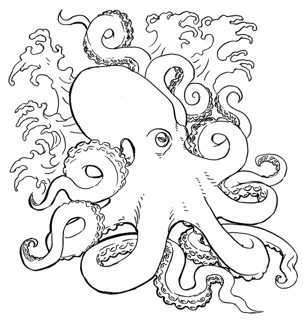 Line Art Octopus : Octopus my first ever effort at drawing an