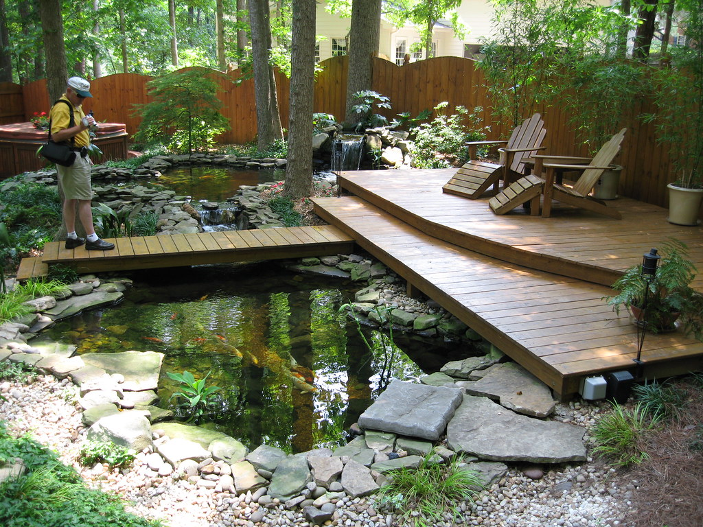 Terrific koi pond and great place to enjoy nature for Japanese decking garden