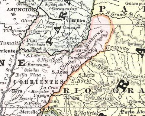 Mapa Antiguo De Corrientes Y Misiones Argentina Douglas - Argentina misiones map