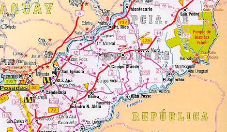 Mapa Parcial Província De Misiones Argentina Douglas Fernandes - Argentina misiones map