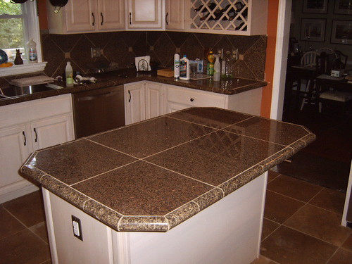 Kitchen remodel with granite tile countertops and for Custom made kitchen countertops