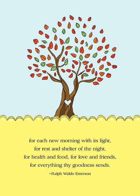 gratitude tree free 5x7 mini print  ralph waldo emerson