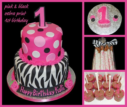 Pink And Black Zebra Print 1st Birthday Cake, Smash Cake