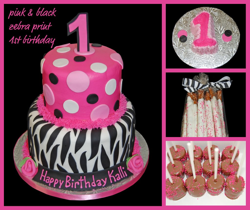 Pink Zebra Print Girls 1st Birthday Invitation: Pink And Black Zebra Print 1st Birthday Cake, Smash Cake A