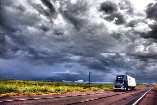 Long Haul Truck 18 Wheeler Raining Country Road Nowhere ...