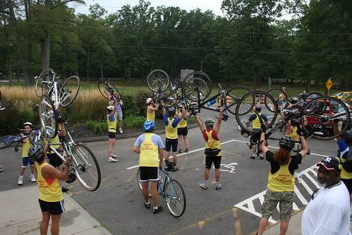 CT AIDS Bike Tour riders celebrating by raising their bikes | by WNPR - Connecticut Public Radio