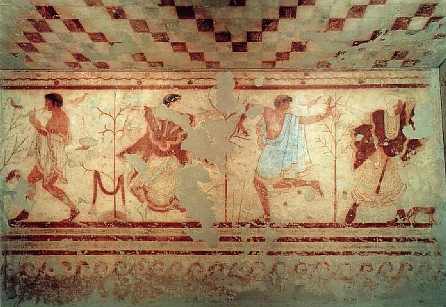 leopards, banqueters,and musicians | Mural, 480-470 BC ...
