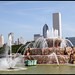 Fountain And Chicago Skyline