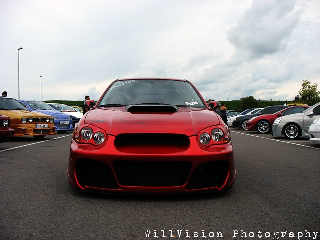 Tuning Candy Red Subaru Impreza Willvision Hi And