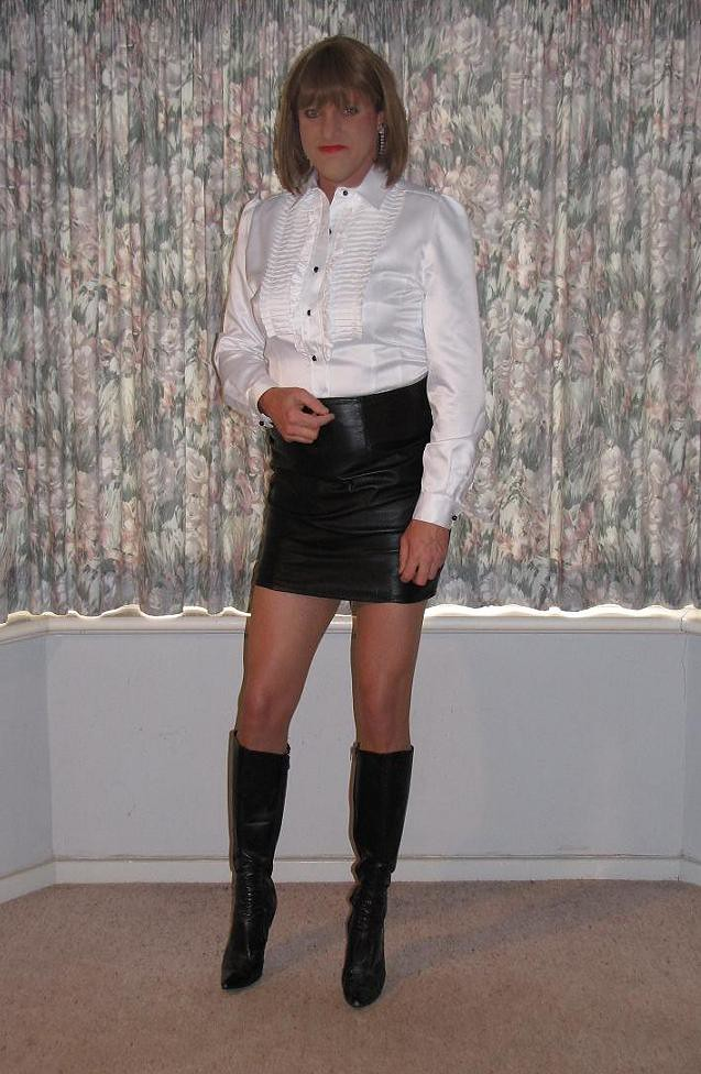leather skirt 4a this satin blouse is a copy of a