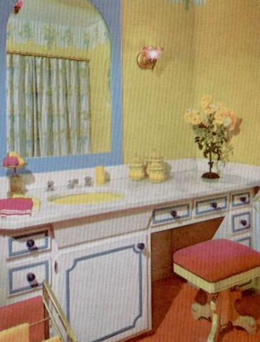 Blue Yellow Pink Bathroom Scan From The Practical